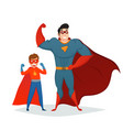 man and boy superheroes retro composition vector image