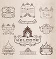 Thai art pattern vintage design elements and frame vector image