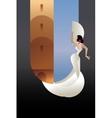 styled Spain Flamenco dancer on sity landscape vector image