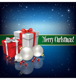 Celebration greeting with Christmas gifts and vector image
