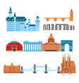 euro trip tourism travel design famous building vector image