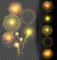 Golden firework set on translucent background for vector image