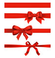 set of red bows on white decorative design vector image
