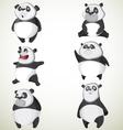 Set of six cute pandas vector image