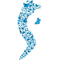 swarm of flying blue butterflies making s form vec vector image