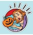 Girl scared Halloween evil pumpkin vector image