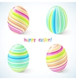 Blue and pink striped easter eggs set vector image