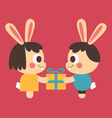 Bunny Couple Trading a Present vector image