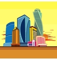 Buildings high-rise cityscape sunset vector image