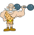 Cartoon strongman holding a barbell vector image