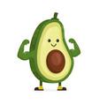 cute happy strong smiling avocado vector image