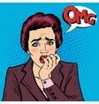 Nervous Business Woman Biting Her Fingers Pop Art vector image