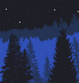 Tree silhouettes on a mountain background vector image