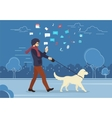 Young man walking outdoors with his dog in the vector image