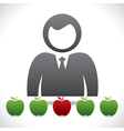 men think to choose the right apple vector image
