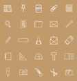 Stationery line icons on brown background vector image