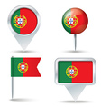 Map pins with flag of Portugal vector image