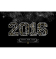 Happy new year 2016 gold deco geometry outline vector image