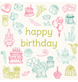 Birthday Card - with hand drawn elements vector image