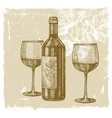 hand drawn wine vector image
