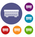 passenger train car icons set vector image