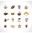 Polygonal Coffee Icons Set vector image