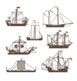 Set of vintage sailing ships vector image