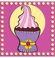 Simple figure cupcake in vintage style vector image