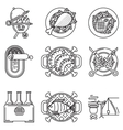 Black line icons for barbecue vector image