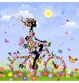 Flower bike girl vector image