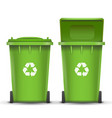green recycling bin bucket for glass trash vector image