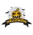 Halloween Pumpkin on Ribbon vector image