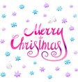 Merry Christmas - pink glittering lettering design vector image