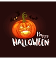 Dark Halloween card with pumpkin and bats vector image