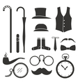 Gentlemens vintage stuff design elements collectio vector image