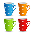Collection of colorful cups with white dots vector image vector image