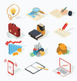 set of isometric business icons vector image
