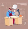 cartoon builder sitting at desk working on vector image