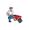 Gardener Pushing Wheelbarrow Cartoon vector image