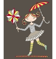 pretty girl acrobat walking a tightrope with an vector image