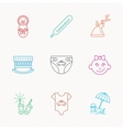 Newborn clothes diapers and sleep hat icons vector image