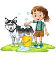 Girl giving bath to pet dog vector image