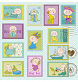 Baby Boy Postage Stamps vector image