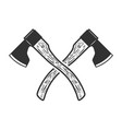 crossed axe isolated on white background vector image