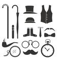 Gentlemens vintage stuff design elements collectio vector image