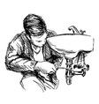 Hand sketch plumber vector image