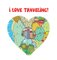 I love travel card with map heart vector image