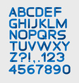 Paper blue strict alphabet rounded Isolated on vector image