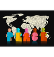 Peace Slogan - Title with Paper Cut People on vector image