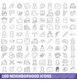 100 neighborhood icons set outline style vector image